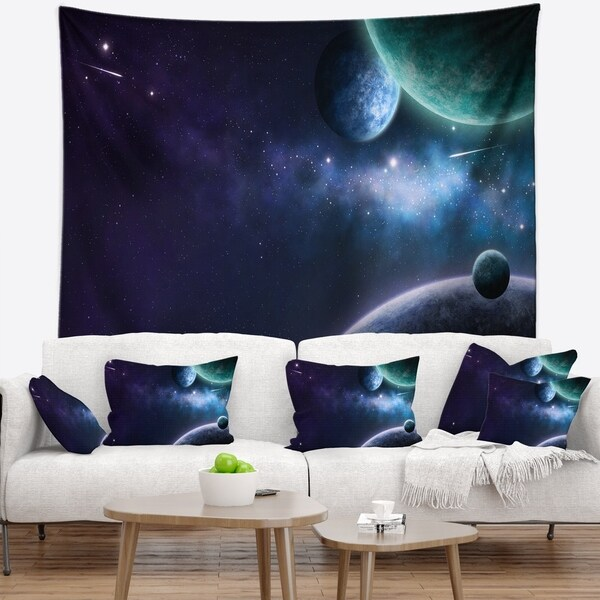 Designart 'Blue and Purple Nebula' Contemporary Wall Tapestry