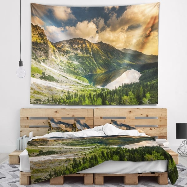 Designart 'Dramatic Sky over Alpine Lake' Landscape Wall Tapestry