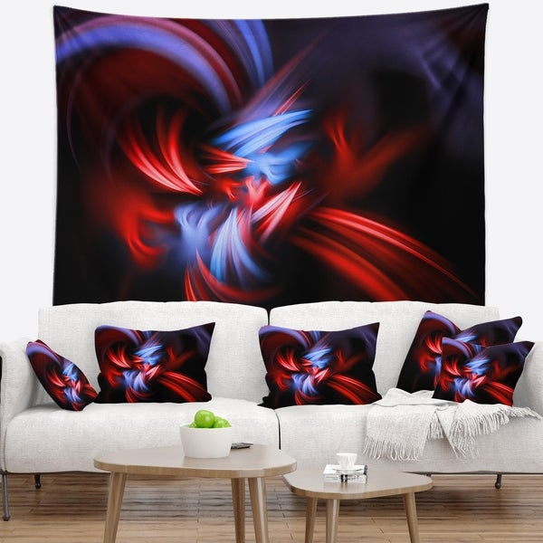Designart 'Fractal Red Connected Stripes' Contemporary Wall Tapestry