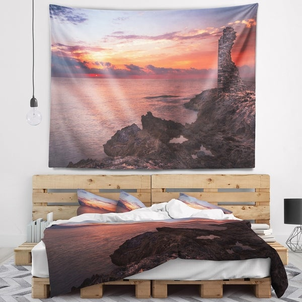 Designart 'Red Rocky Beach with Ancient Ruins' Oversized Beach Wall Tapestry