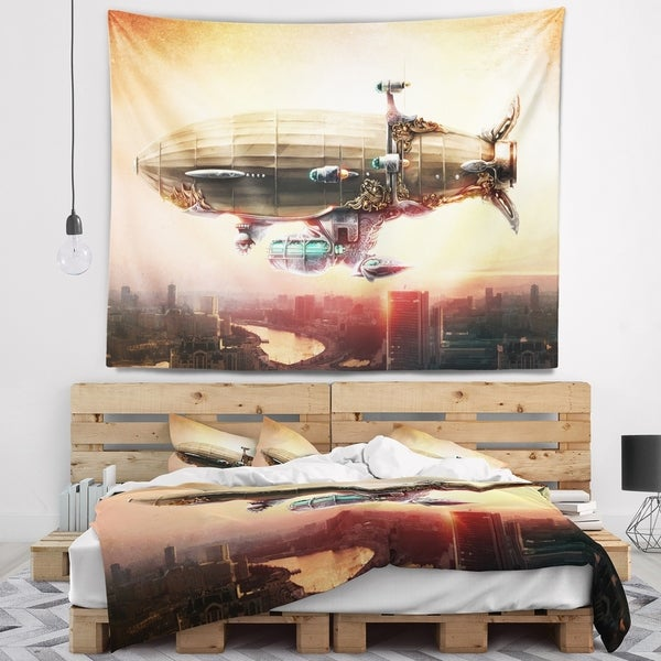 Designart 'Dirigible Balloon in Sky over City' Abstract Wall Tapestry