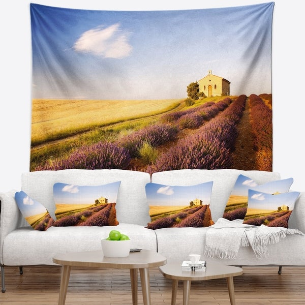 Designart 'Grain Fields with Lavender Rows' Landscape Wall Tapestry