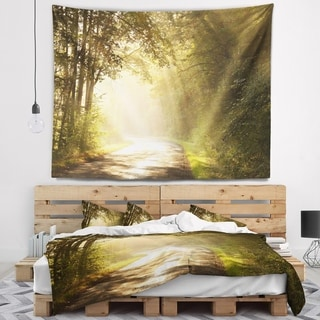 Designart 'Bright Sunlight in Fall Forest' Landscape Photo Wall Tapestry