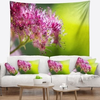 Designart 'Pink Little Flowers in Green' Floral Wall Tapestry