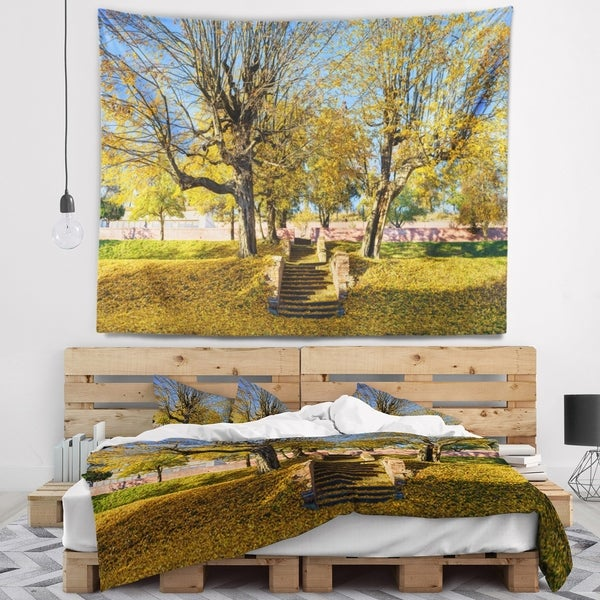 Designart 'Stone Stairs in Park in Fall' Landscape Wall Tapestry