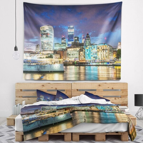 Designart 'Thames River at Night' Cityscape Photography Wall Tapestry