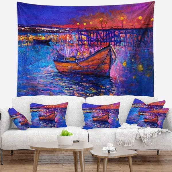 Designart 'Boats and the City' Seascape Wall Tapestry