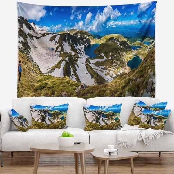 Designart 'Clouds Over Seven Rila Lakes' Landscape Wall Tapestry