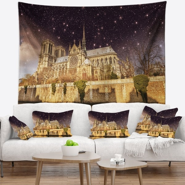 Designart 'Notre Dame Cathedral at Night' Cityscape Photo Wall Tapestry