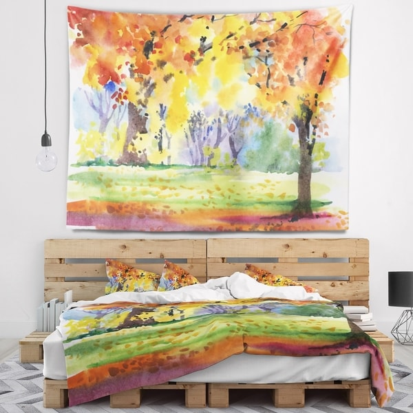 Designart 'Autumn Park Yellow Trees Watercolor' Landscape Wall Tapestry