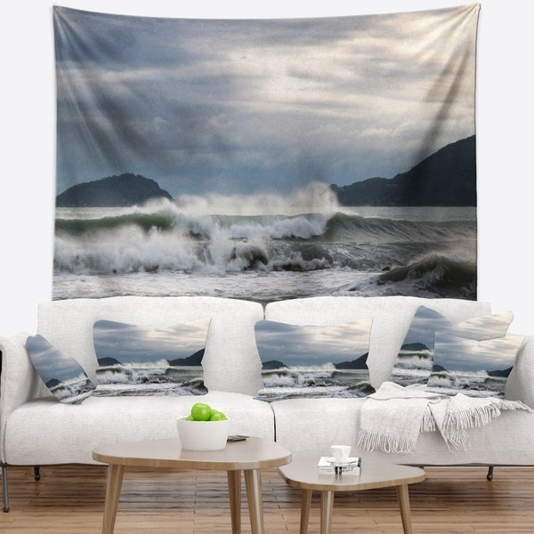 Designart 'Waves in Lerici Beach Italy' Seascape Wall Tapestry