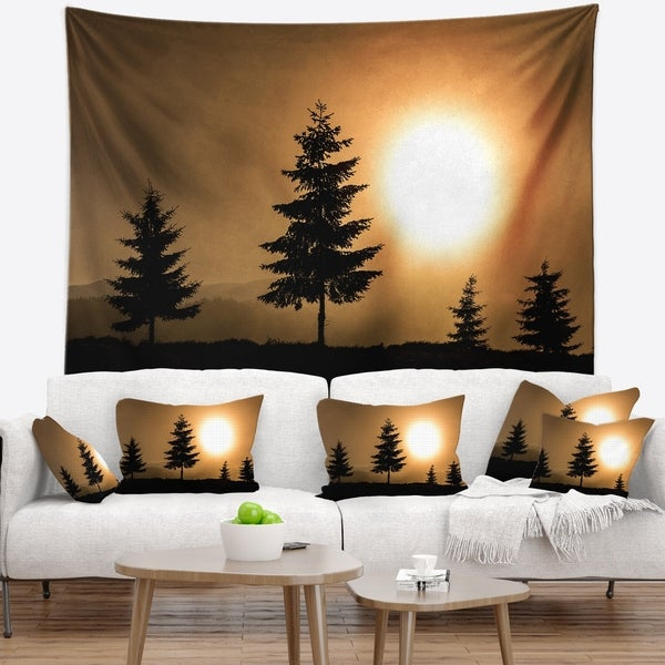 Designart 'Bright Sunrise Tree Silhouette' Landscape Wall Tapestry