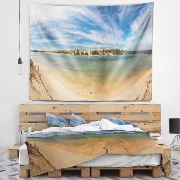 Designart 'Portuguese Maritime Village Panorama' Seashore Wall Tapestry