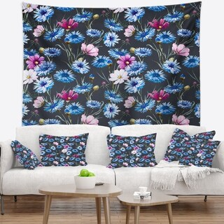 Designart 'Multi Color Corn Flowers' Floral Wall Tapestry