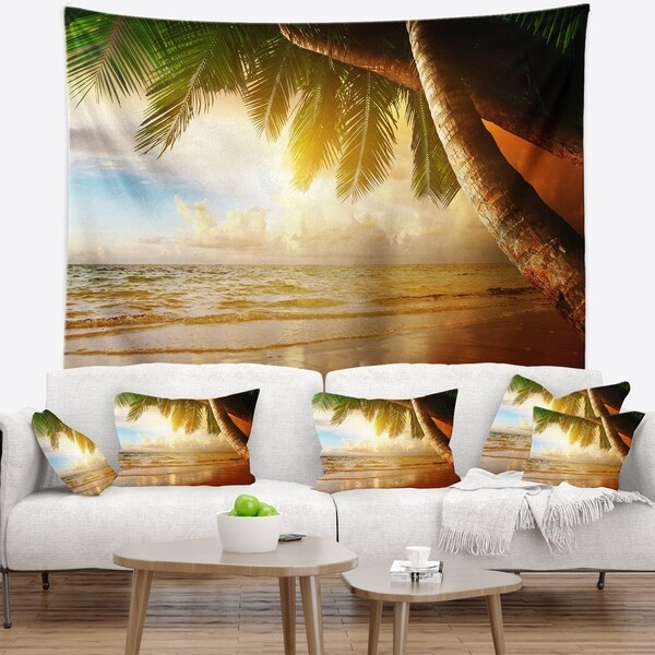 Designart 'Caribbean Beach Sunrise' Landscape Photo Wall Tapestry
