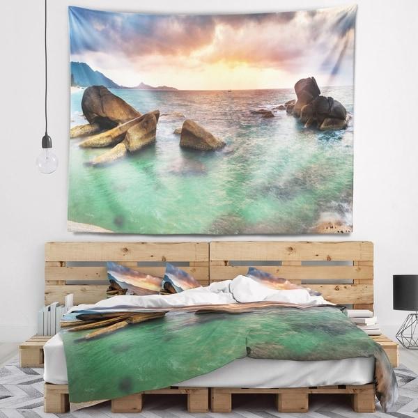 Designart 'Sunrise at Blue Lamai Beach' Seashore Wall Tapestry