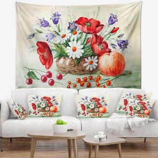 Designart 'Colorful Bunch of Flowers and Fruits' Floral Wall Tapestry