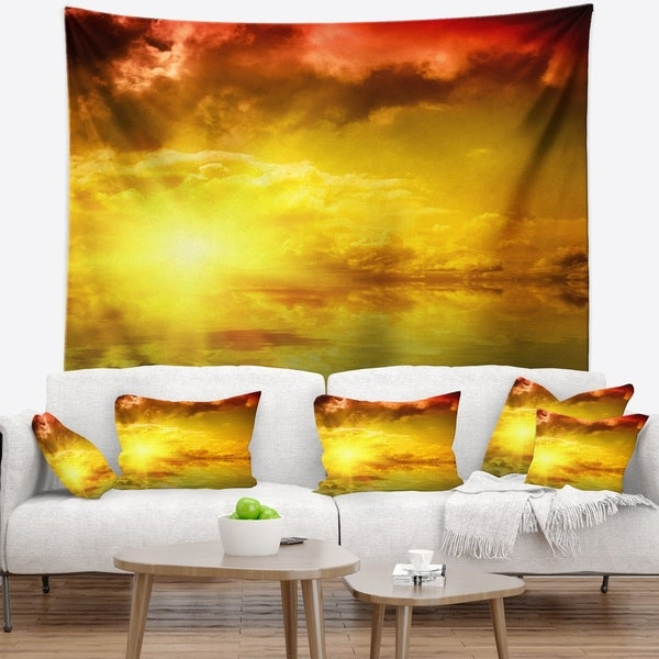 Designart 'Red Dramatic Sky with Yellow Sun' Landscape Wall Tapestry