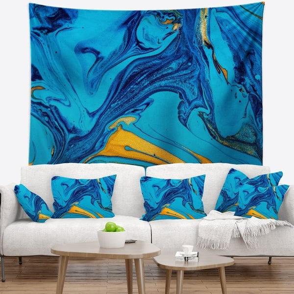 Designart 'Soft Blue Abstract Acrylic Paint Mix' Abstract Wall Tapestry