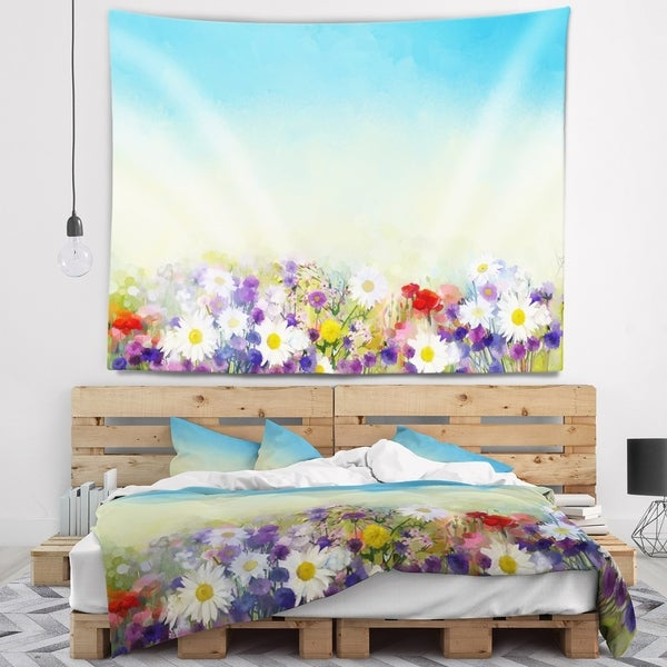 Designart 'Soft Flowers in Spring Background' Floral Wall Tapestry