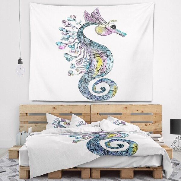 Designart 'Colorful Seahorse Watercolor' Animal Wall Tapestry