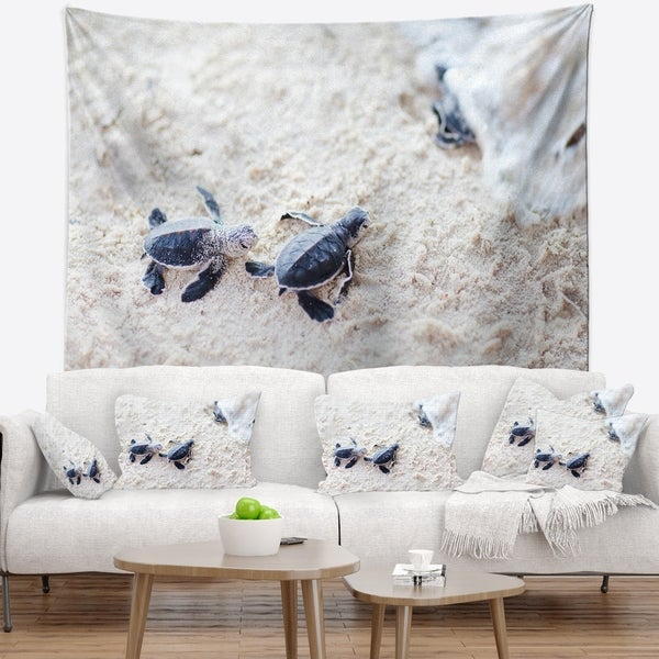 Designart 'Baby Green Turtles on Sand' Animal Wall Tapestry