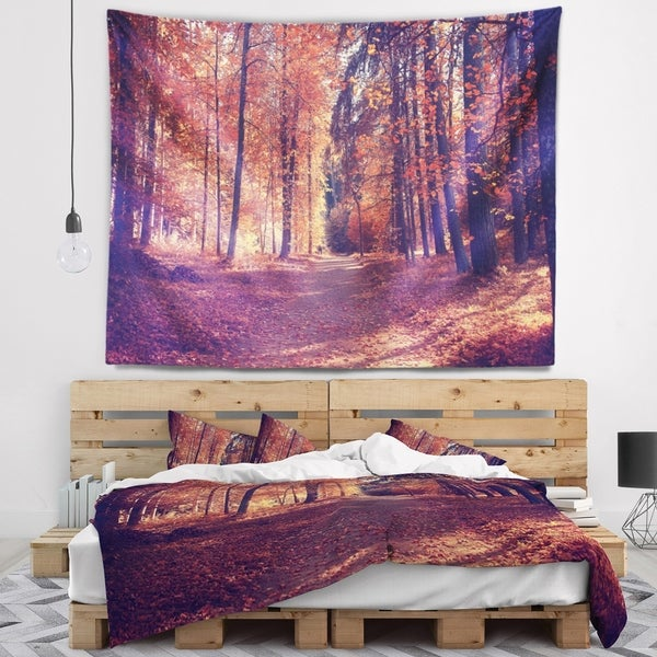 Designart 'Thick Woods in Colorful Fall Forest' Modern Forest Wall Tapestry