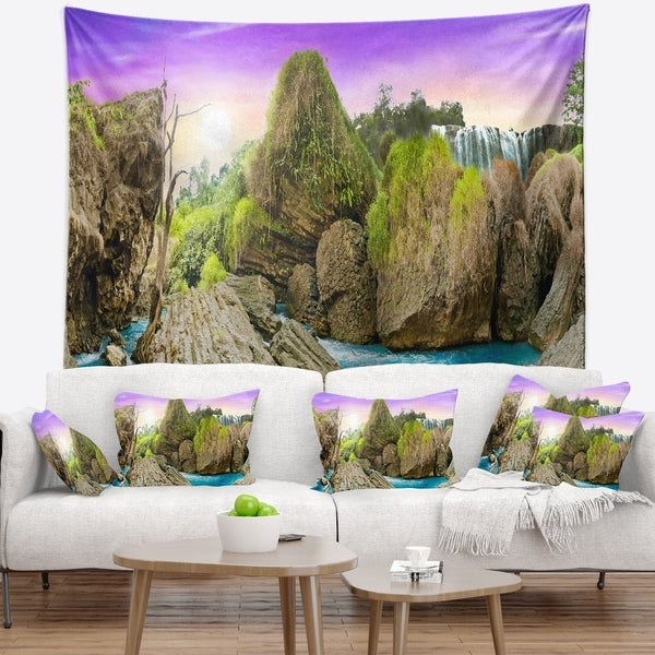 Designart 'Wild Forest and Waterfall Vietnam' Landscape Wall Tapestry