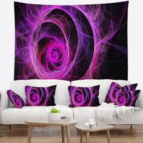 Designart 'Exotic Pink Flower' Floral Wall Tapestry