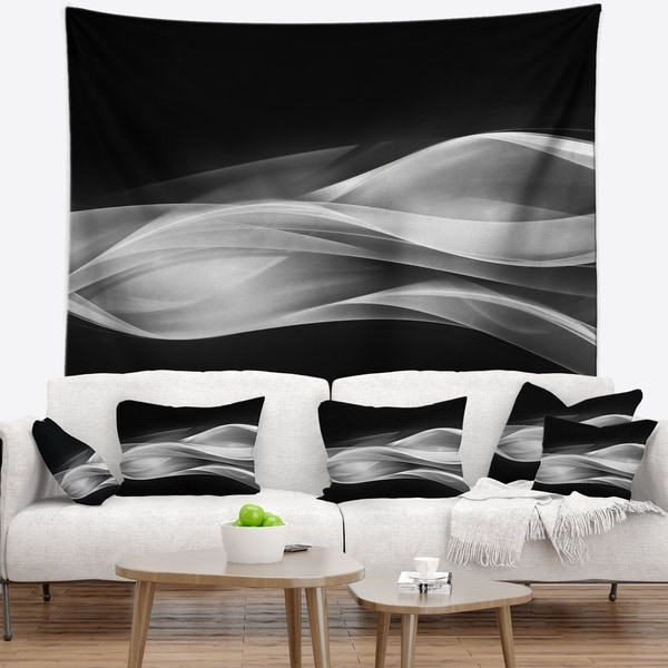 Designart 'Glittering Silver Pattern' Abstract Wall Tapestry