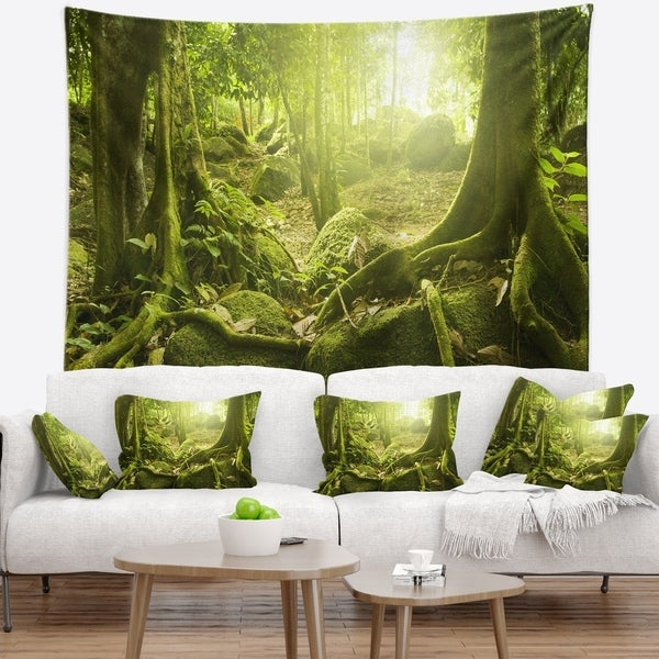 Designart 'Green Forest with Sun' Landscape Photography Wall Tapestry