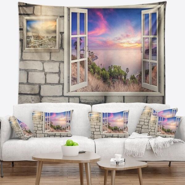 Designart 'Window to Beautiful Stretch of Land' Modern Landscape Wall Tapestry