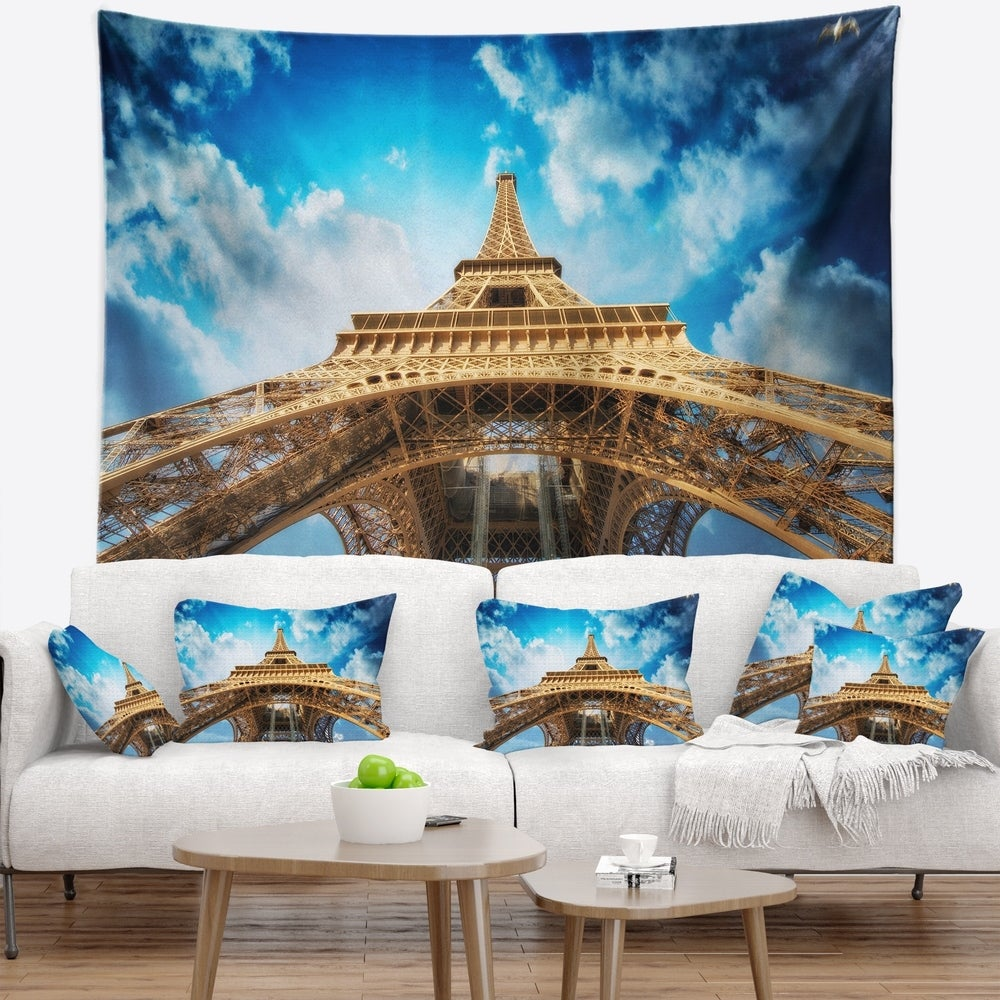 Designart Beautiful View Of Paris Paris Eiffel Towerin Paris Cityscape Wall Tapestry 80 In X 68 In Shefinds
