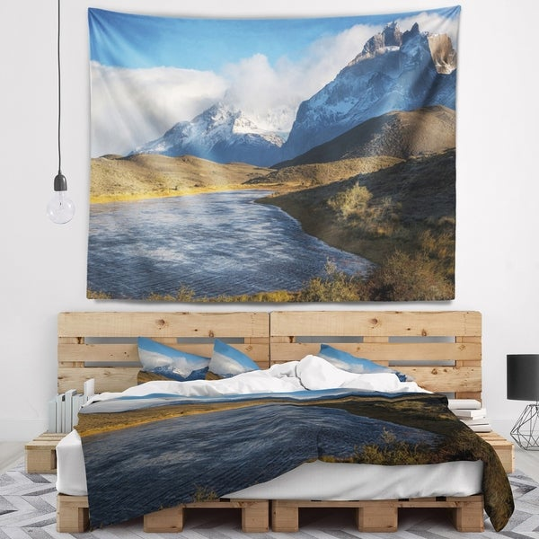 Designart 'Beautiful View of Torres del Paine' Beach Wall Tapestry