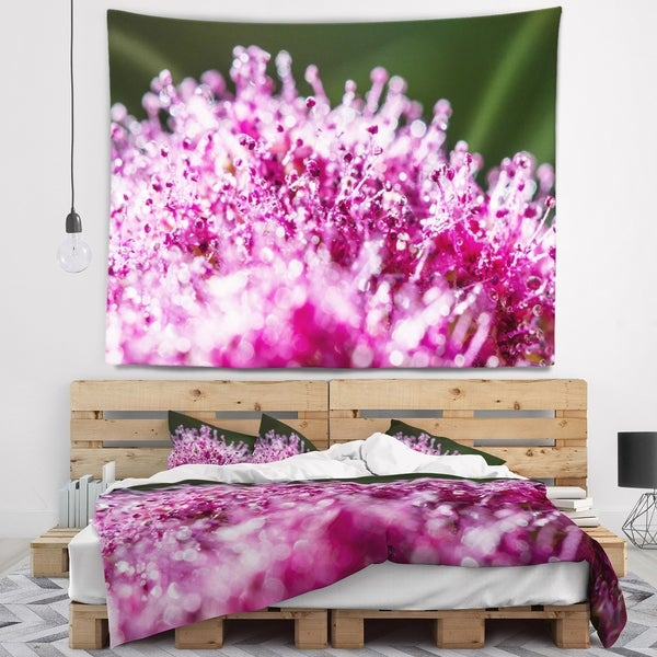 Designart 'Pink Little Flowers Close up View' Floral Wall Tapestry