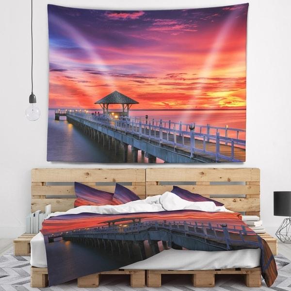 Designart 'Long Wooden Bridge and Colorful Sky' Sea Bridge Wall Tapestry