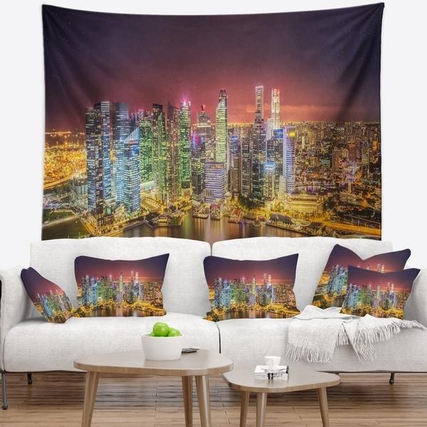 Designart 'Singapore Skyline View of Marina Bay' Cityscape Wall Tapestry