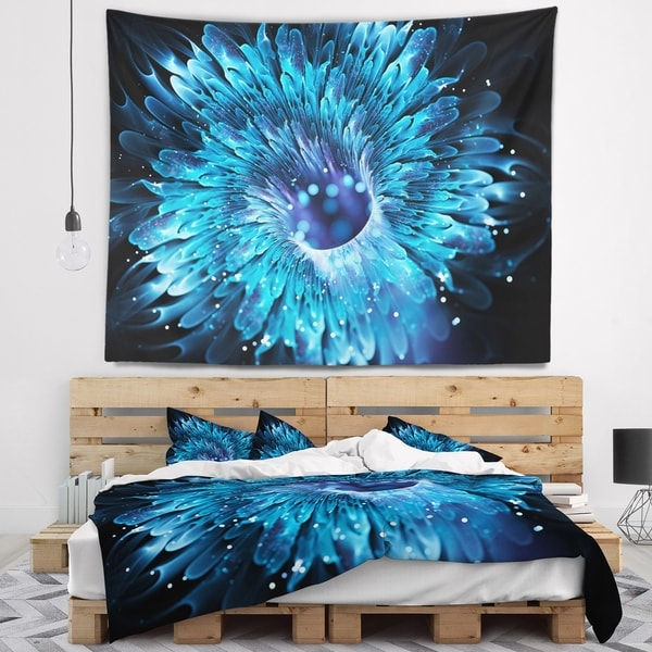 Designart 'Blue Magical Wormhole Fractal' Abstract Wall Tapestry