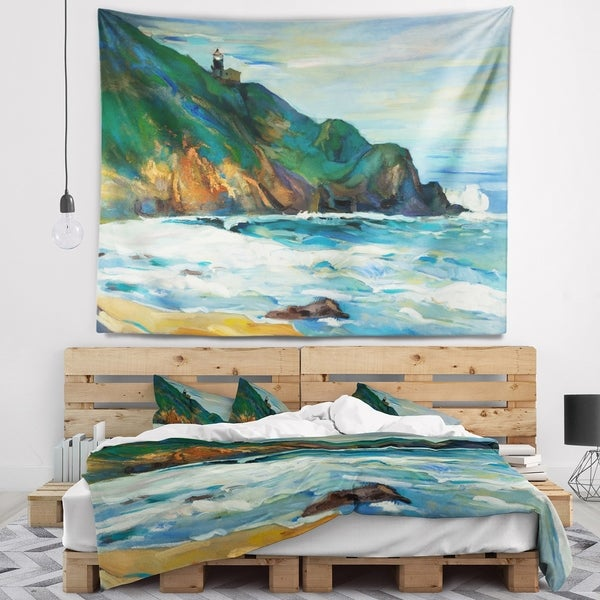 Designart 'Lighthouse' Landscape Painting Wall Tapestry