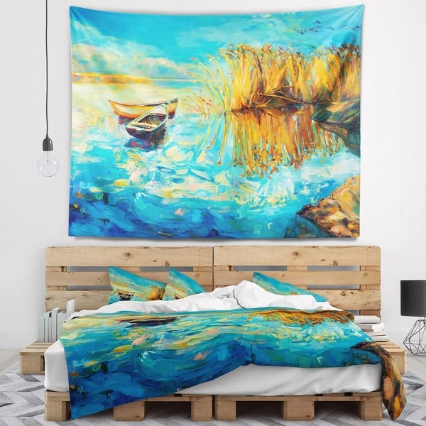 Designart 'Colorful Lake with Boats' Seascape Wall Tapestry