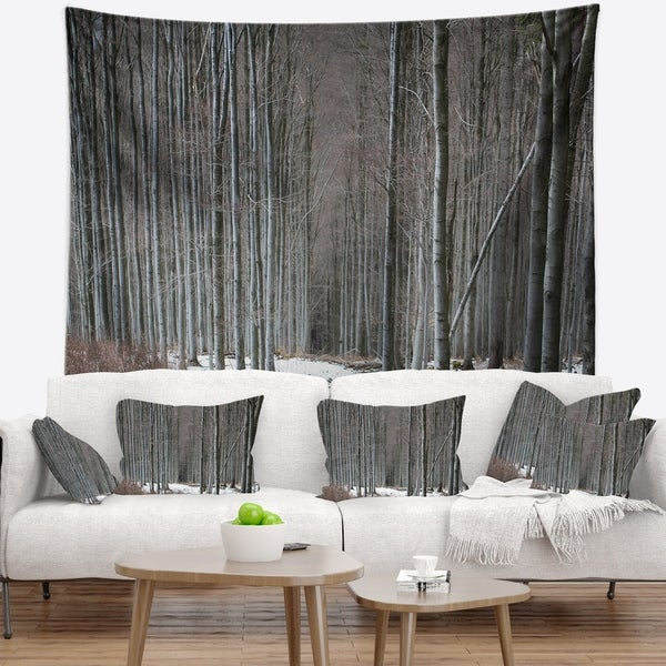 Designart 'Winter Forest with Thick Trees' Forest Wall Tapestry