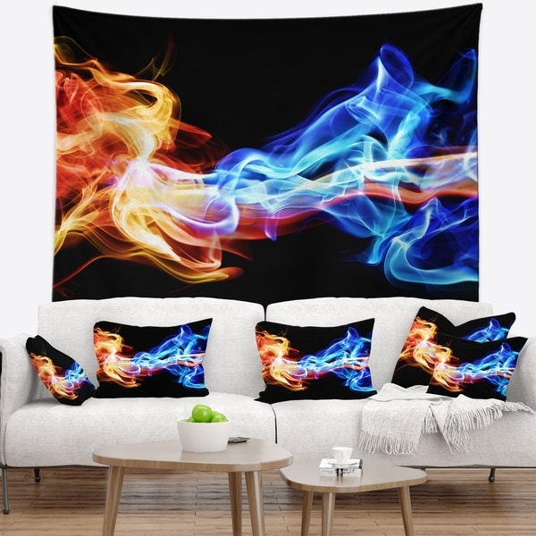 Designart 'Red and Blue Smoke Abstract' Abstract Wall Tapestry