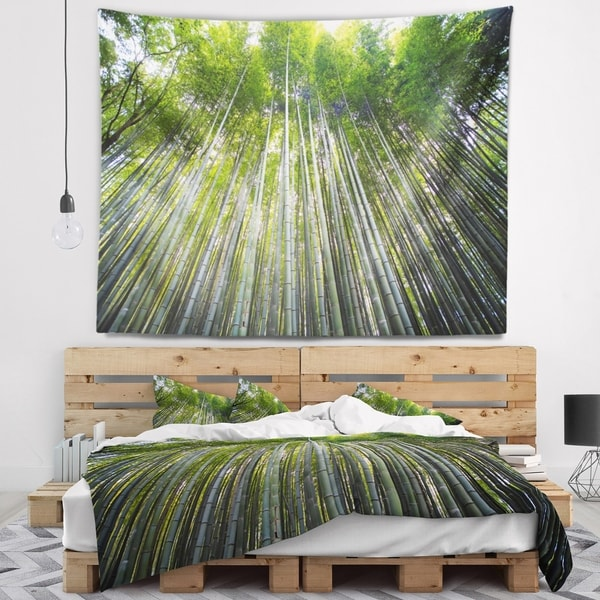 Designart 'Bamboo forest of Kyoto Japan.' Forest Wall Tapestry