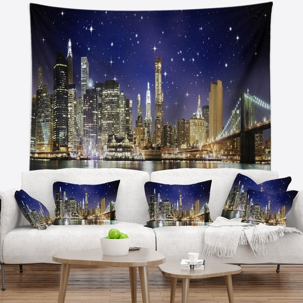 Designart 'Night Colors over Brooklyn Bridge' Cityscape Photo Wall Tapestry