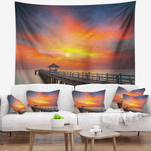 Designart 'Wooden Bridge under Yellow Sky' Pier Seascape Wall Tapestry