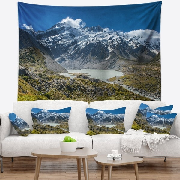 Designart 'Green and White Mountains New Zealand' Landscape Wall Tapestry