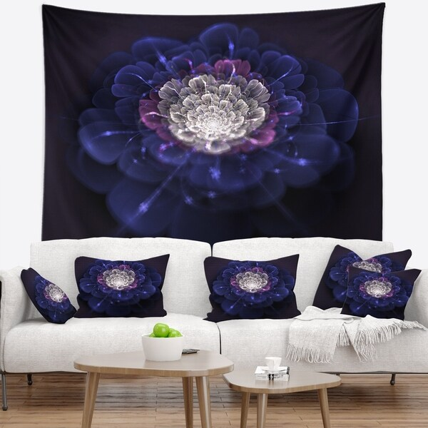 Designart 'Blue White Fractal Flowers' Floral Wall Tapestry