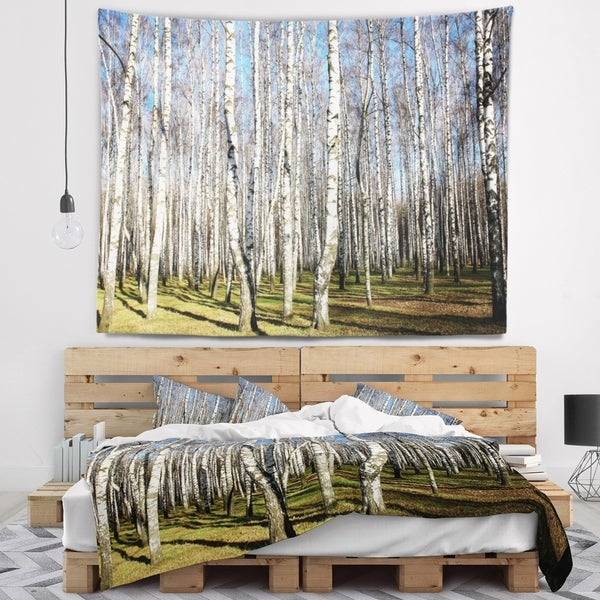 Designart 'Sunny Autumn Birch Grove' Modern Forest Wall Tapestry