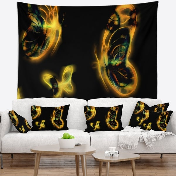 Designart 'Yellow Fractal Butterflies on Black' Floral Wall Tapestry