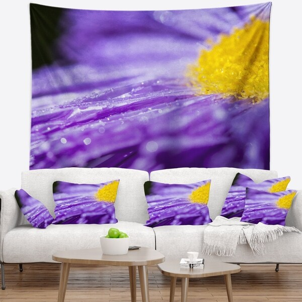 Designart 'Large Violet Flower Petal Close up' Flower Wall Tapestry